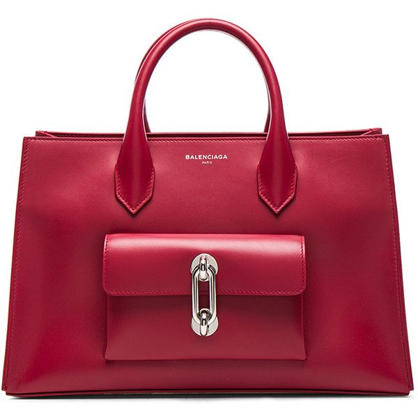 Balenciaga Extra Small Maillon Work AJ (£1,525) ❤ liked on Polyvore featuring bags, handbags, handle bag, red handbags, balenciaga handbags, balenciaga purse and balenciaga
