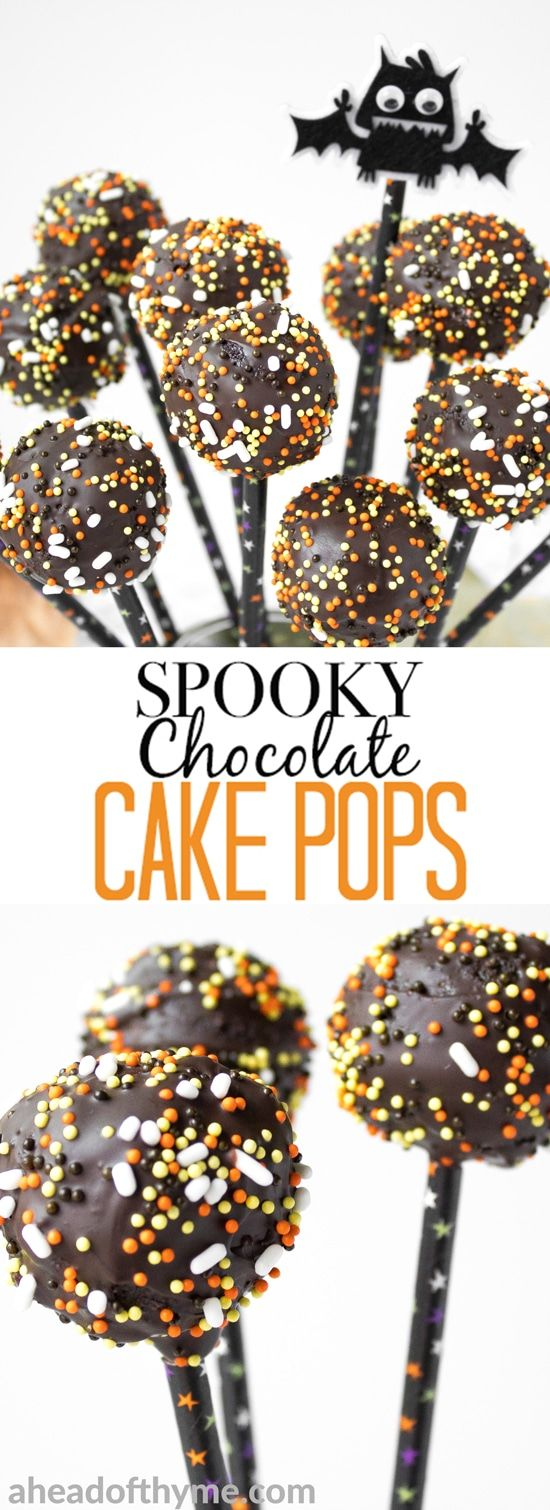 Trick or Treat! Indulge in some chocolate goodness this Halloween with these easy to decorate, spooky chocolate cake pops. | aheadofthyme.com via @aheadofthyme