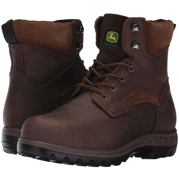 John Deere 6 Steel Toe Boot (Gaucho) Women's Work Boots ($123) ❤ liked on Polyvore featuring shoes, boots, ankle boots, wide work boots, lace-up bootie, bootie boots, laced up ankle boots and laced up boots