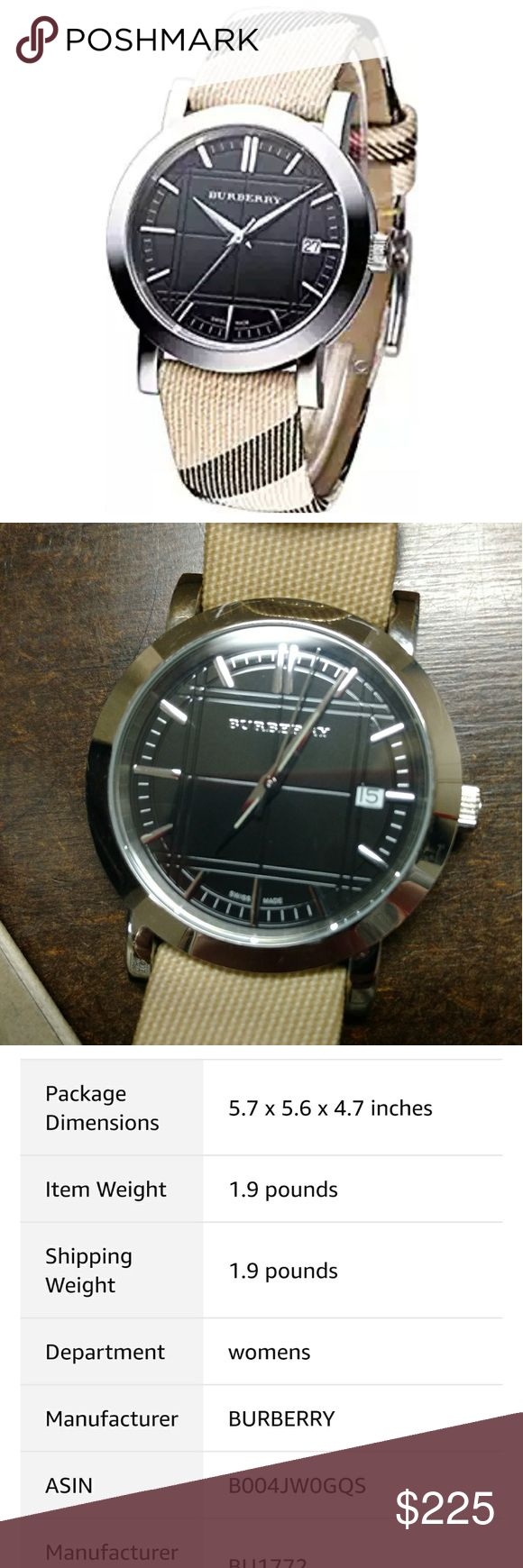 Burberry Classic Nova Check Strap w Black Face Gorgeous Burberry watch. Purchased in London, works perfectly and has the original box, booklets, etc. There are slider marks from wear on case, both front and back, no marks on the crystal. The original band is in great shape, no discoloration from wear. Can see about having a jeweler buff case prior to shipping if requested. Burberry Accessories Watches