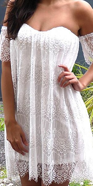 Sexy Strapless Off-shoulder Short Sleeve Lace Party Dress
