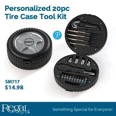 "PERSONALIZED 20PC TIRE CASE TOOL KIT  The perfect set of tools all stored in this plastic tire shaped box. Includes 9 full size screw driver bits, 4 mini screwdrivers, 4 socket wrench bits and box cutter. Personalization: up to 10 characters 5""Diam. x 2""H."