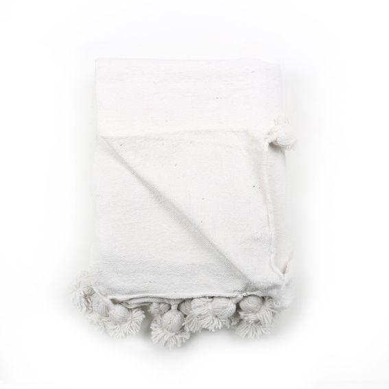 Pompondeken katoen wit | LisLoves