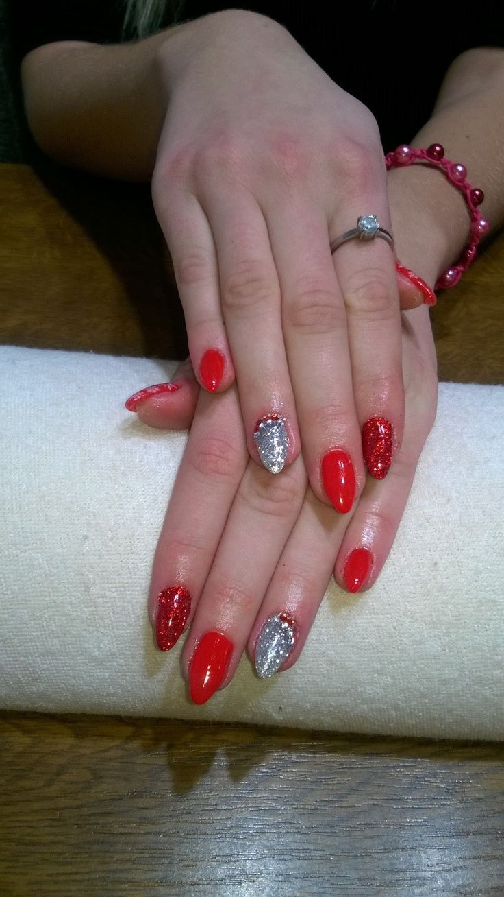 red gel, red glitter and rhinestones, silver glitter and rhinestones