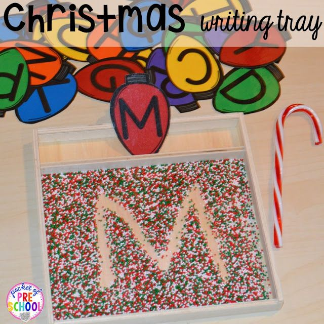 Use sprinkles for a Christmas writing tray