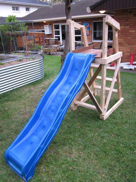 Plans for building a platform for a diy slide diy toys for Building a pool