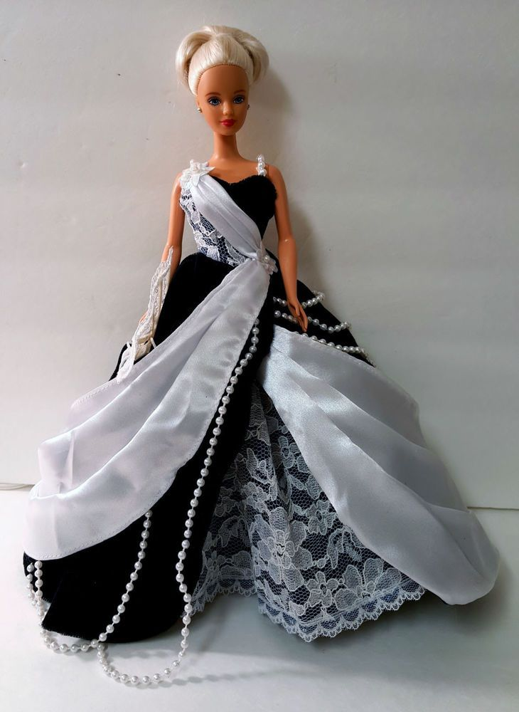 Barbie Elegant Dark Navy Blue Velvet <b>Princess Ball Gown White</b> ...