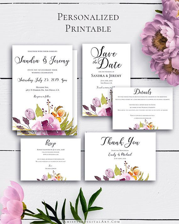 Bohemian Wedding Invitation Suite with beautiful and lovely watercolor marsala florals in rustic wedding style.Build your suite - choose your card combination by Amistyle Digital Art on Etsy