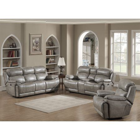 Estella Collection Contemporary 3-Piece Upholstered Leather Living Room Set with a Recliner Chair, Sofa and Loveseat with Storage Console and Cup Holders, Gray