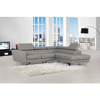 Delia Grey Bonded Leather Modern Sectional Sofa Set | Overstock.com Shopping - The Best Deals on Sectional Sofas