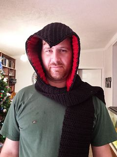 Assassin's creed style Scoodie - free crochet hooded scarf pattern by Autumn Hegler. Aran weight yarn, large adult size.