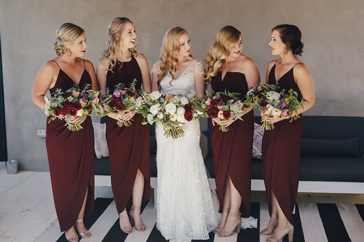 Burgundy bridesmaid dresses with different necklines | iZO Photography
