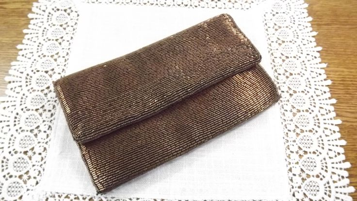 Vintage Clutch/Handbag from Hong Kong Classy Copper-Tone Bugle Bead Beauty from the 60s by Du-Val by OutrageousVintagious on Etsy