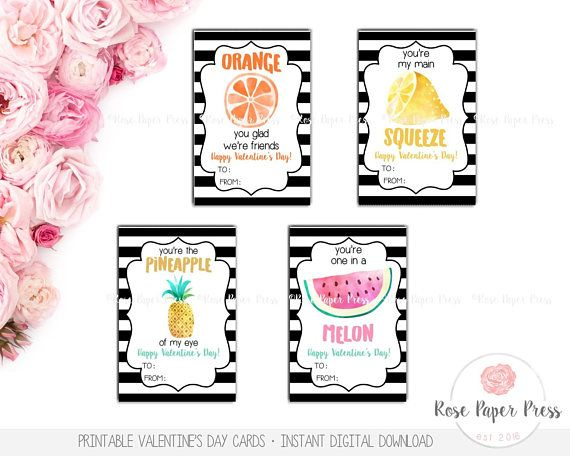 Fruit Valentine S Day Cards Printable Valentines Day Cards Kids