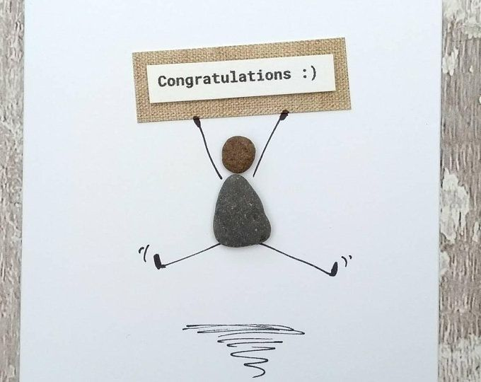 Birthday card pebble picture pebble art stick man card prosecco lover card champagne lover card unique card unusual