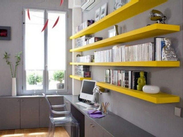 43 Inspiring And Thoughtful Home Office Storage Ideas : Home Office Storage Ideas With White Wall Yellow Cabinet Desk Chair Window Hardwood Floor