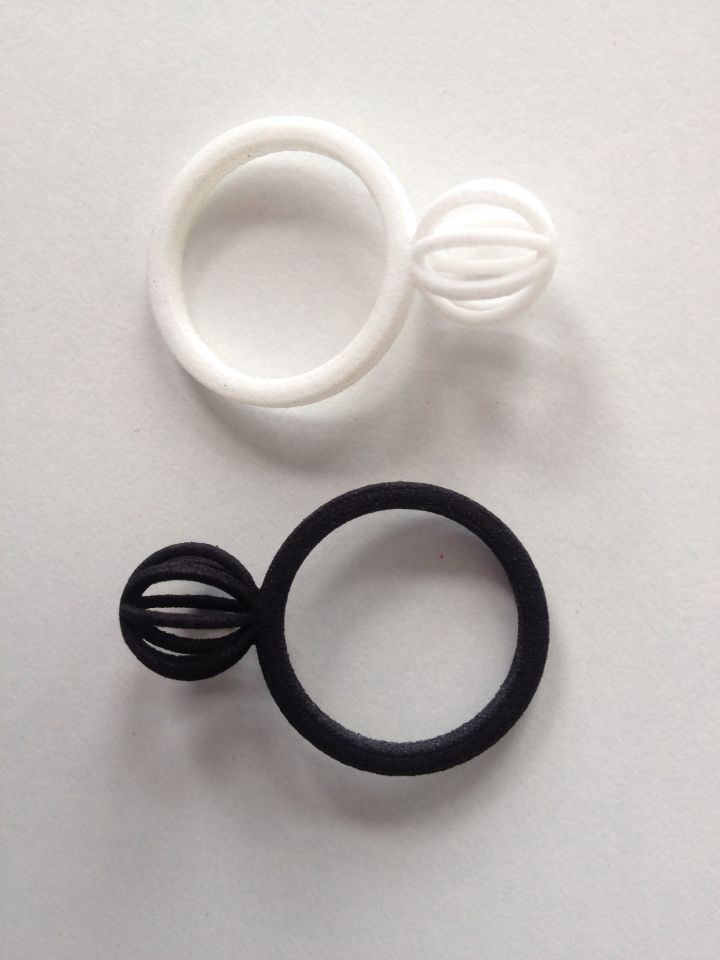 3D printed rings, black and white