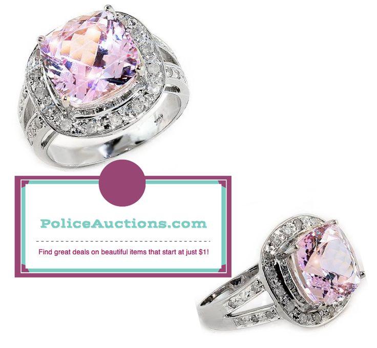 http://bit.ly/1Q8WPNz:Stunning Womens Solid 14K White Gold 1/3 CTW Diamond 5.92 CTW Kunzite Size 7.5 Designer Ring