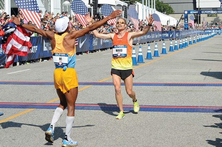 Jared Ward crossing the finish line at the 2016 U.S. Olympic Marathon Trials.