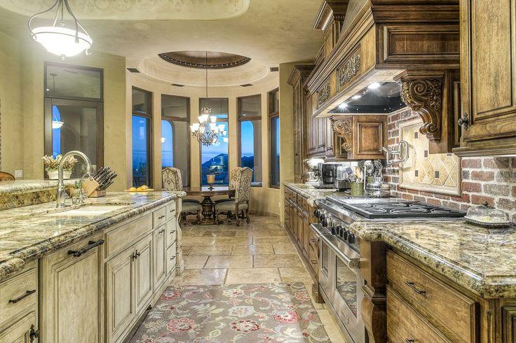 Mediterranean Kitchen with Indoor Bowl Shaped Pendant