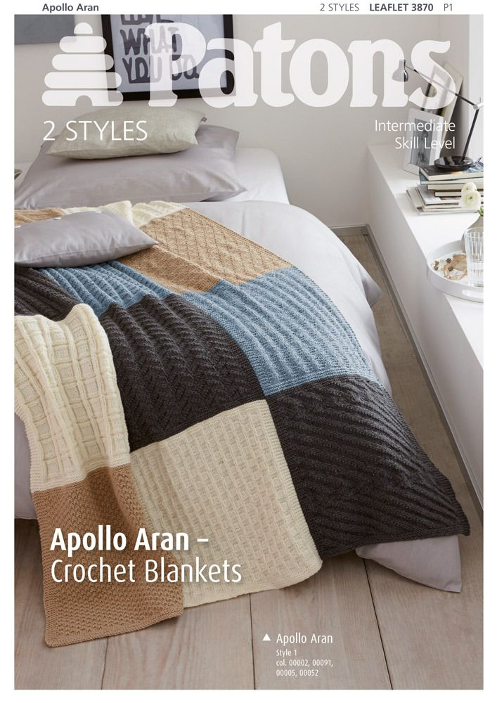 Crochet Blankets in Patons Apollo Aran - 3870