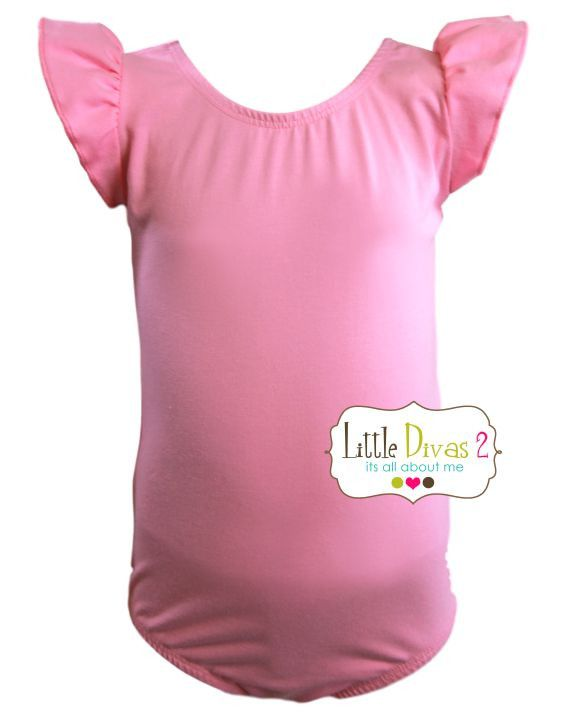 BUBBLE GUM PINK LEOTARD (Child) Flutter/Ruffle Sleeve