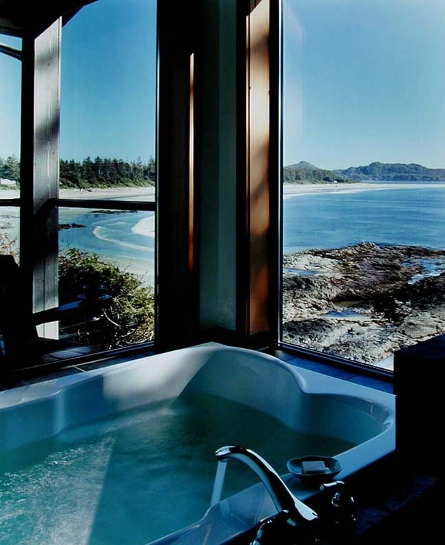 Premier view from a double soaker tub at the Wickaninnish Inn www.wickinn.com