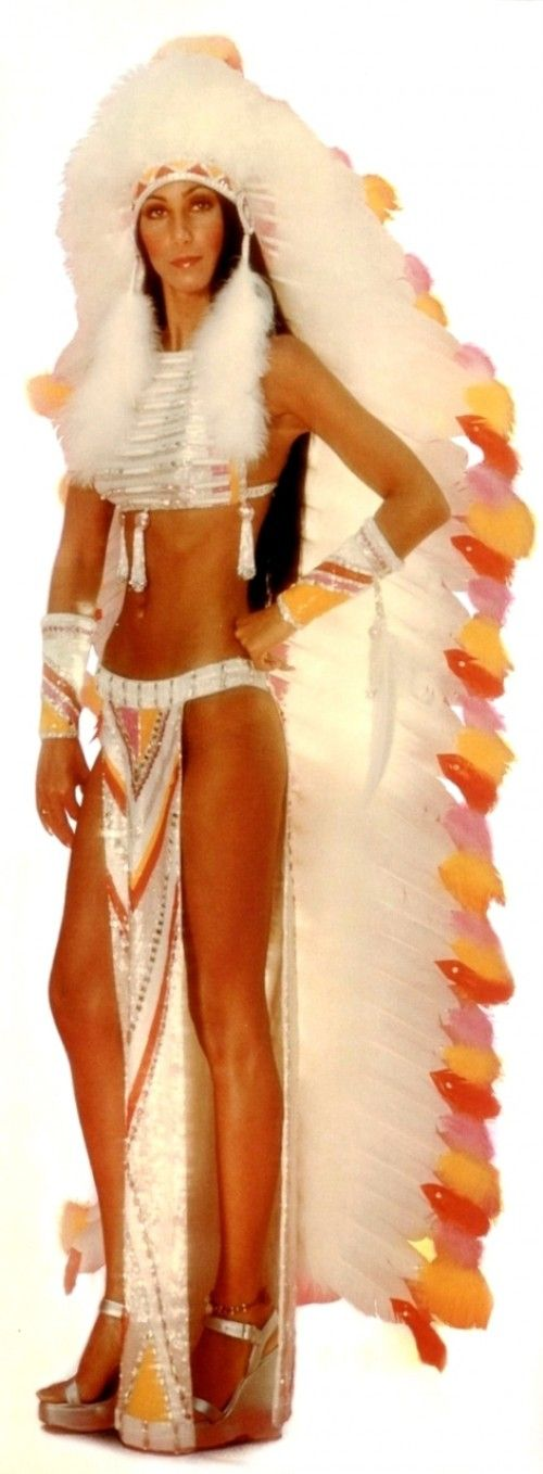 Cher in the Half Breed video 1972 - I use to love when she would do this song on the Sonny and Cher Show...   ....look at those abs! ...and legs!