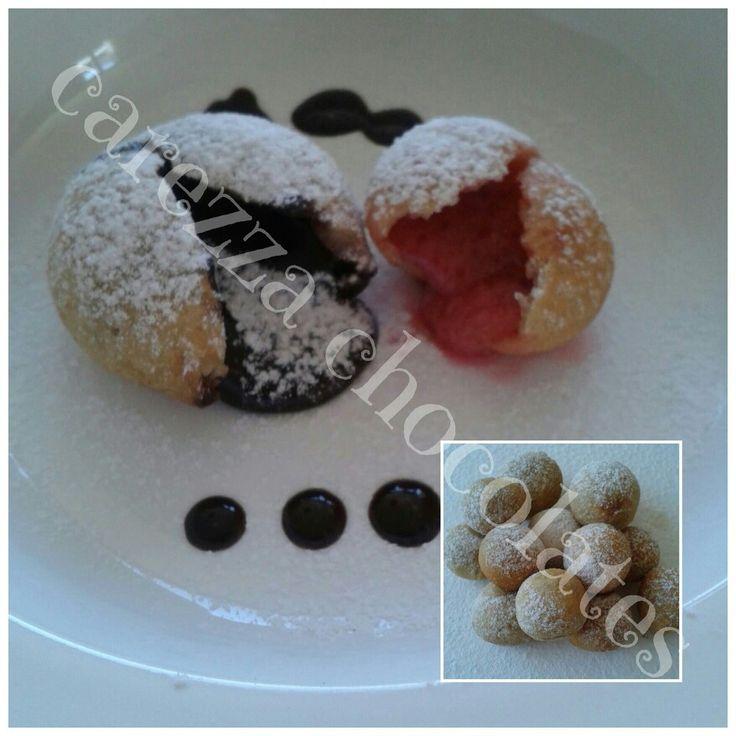 Deliciosas trufas fritas. Se la spuede comer calientes o frias. Igual saben deliciosas ;) www.facebook.com/carezza.chocolates