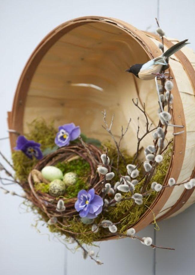 apple basket and birds nest