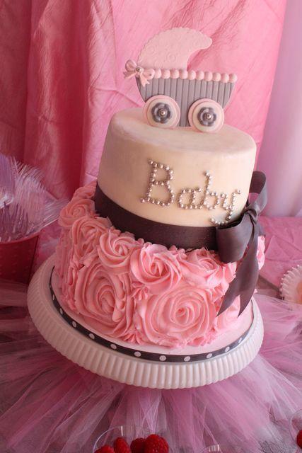 Fotos de bolos de chá de bebê rosa e marrom