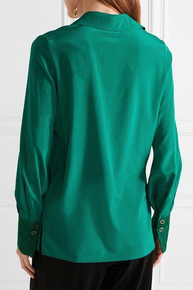 Missoni - Metallic Crochet Knit-trimmed Stretch Silk-blend Shirt - Green - IT36