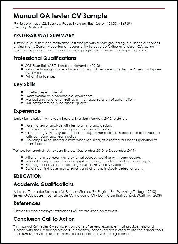 Resume Templates For Qa Tester In 2020 Sample Resume Resume Summary Resume Templates