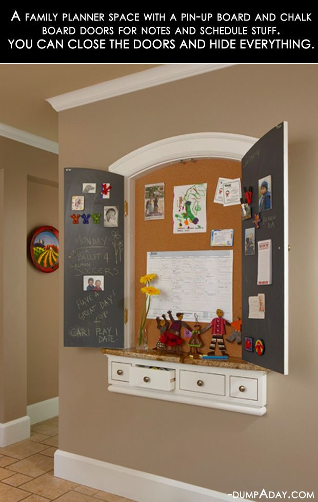 family calendar area in kitchen, with chalk board painted doors that close to hide it all. I really like this!