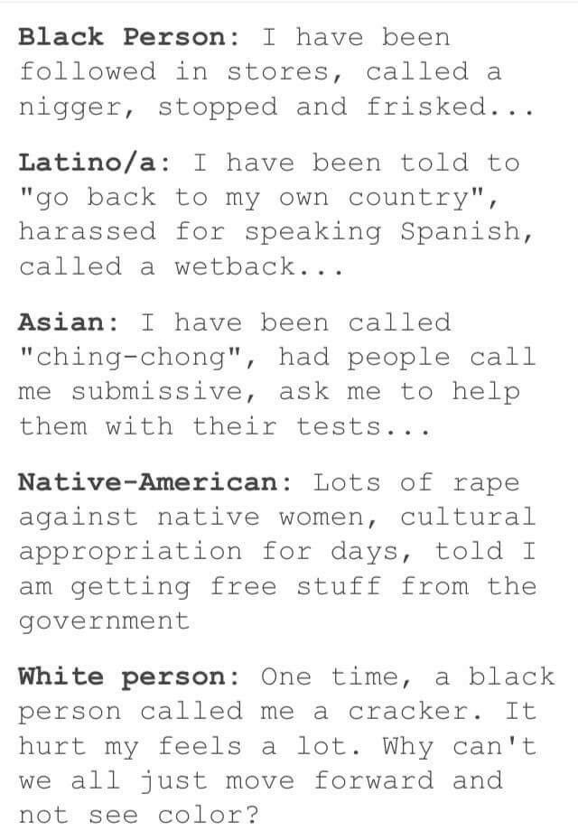 Just because it's not happening to you or you don't notice it, doesn't mean racism is gone.