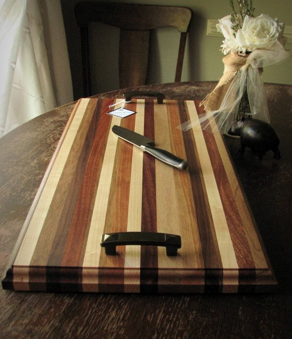 GRILLMASTER Large Carving Board / Serving Board with craftsman-style bronze handles // Salvaged Wood / Sustainable
