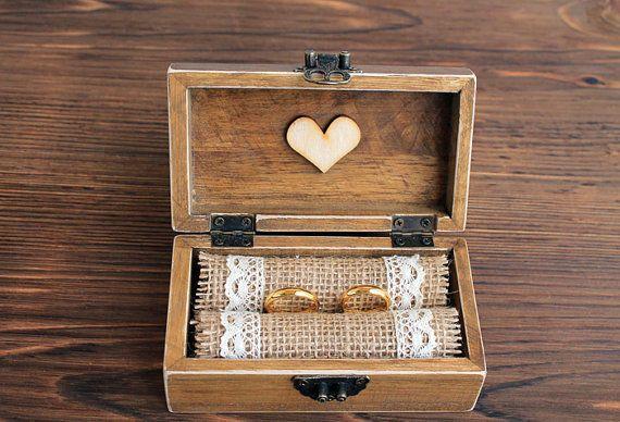 Rustic jewelry box.Ring Bearer Box, wedding ring box, wooden jewelry box, Burlap in Casa, jardín y bricolaje, Decoración para bodas, Cojines y porta alianzas   eBay