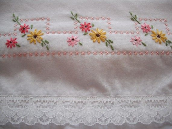 Hand Embroidered Pillow cases  Pinks and yellows  by Rocknrobin, $22.50