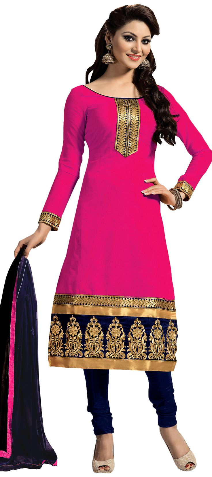 451184: Pink and Majenta color family unstitched Party Wear Salwar Kameez .
