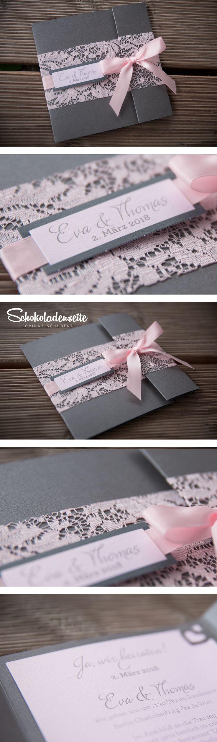 Hallo ihr Mäuse,  hier eine unserer Karten aus dem Shop. <3 Sie besticht durch ihre schöne Aufmachung, die Spitze und das Schleifchen sind dabei ein echter Hingucker. <3 #schokoladenseitekarten #love #wedding #hochzeitskarten #hochzeitseinladung #einladung #beautiful #spitze #schleife #rosa #weddinginvitation #invitation
