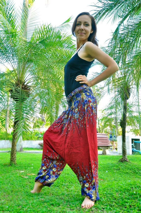 Thai Harem Pants in Cotton Red with Blue & Yellow by Amonchai
