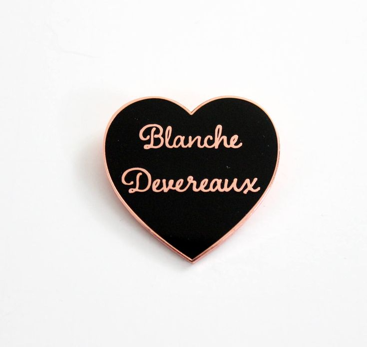 """Blanche Devereaux Black and Rose Gold Heart Pin // Golden Girls TV Show inspired // 1.25"""" hard enamel lapel pin by TheSilverSpider on Etsy"""