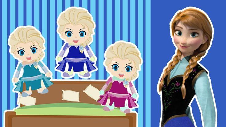Frozen Five Little Elsa Jumping on the Bed | 5 Little Monkeys Jumping on...