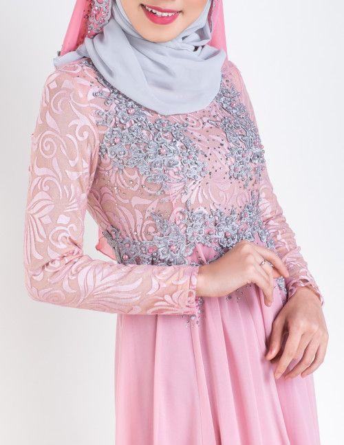 Malay Wedding Dress Dusty Pink