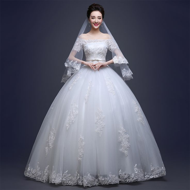 Custom-made Charming Boat Neck Lace Up Ball Gown Wedding Dress 2016 Luxucy Wedding Gown Bridal Gown Vestido De Noiva