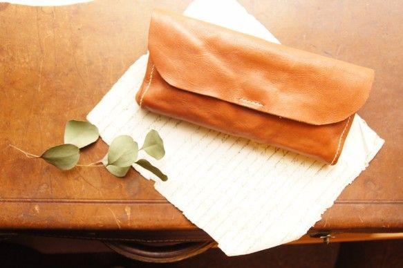 *春財布*おさんぽ財布*ヌメ革*手縫い*タンニンなめし*