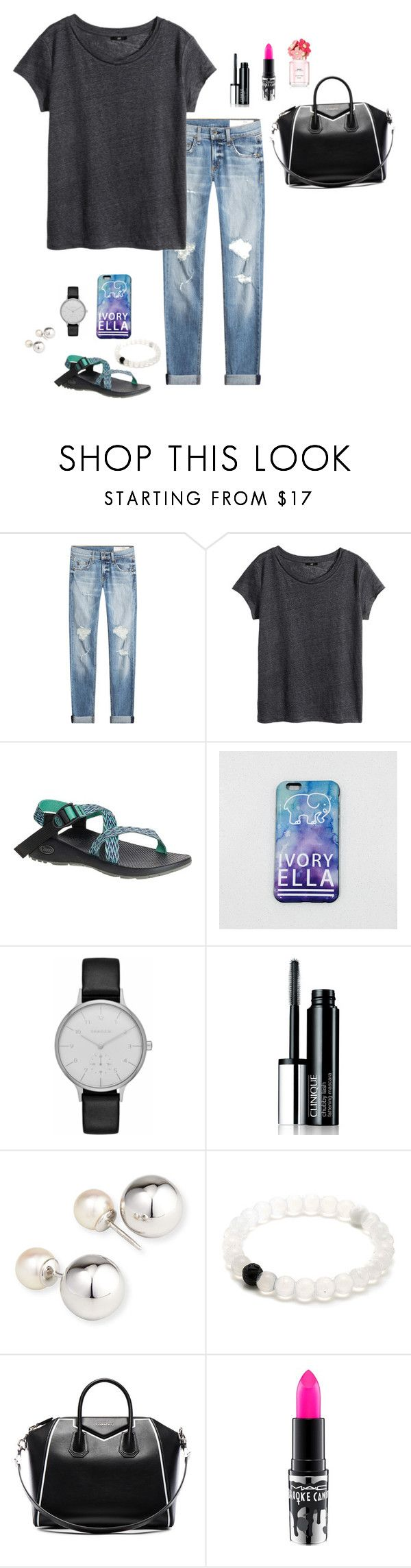 """Does anyone know where I can find Chacos for cheap?"" by oliviacat1215 ❤ liked on Polyvore featuring rag & bone, H&M, Chaco, Skagen, Clinique, Yoko London, Givenchy, MAC Cosmetics and Marc Jacobs"