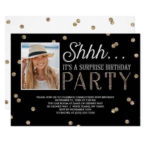 120 best typography birthday invitations images on pinterest shh surprise bday party glitter photo invitation stopboris Image collections