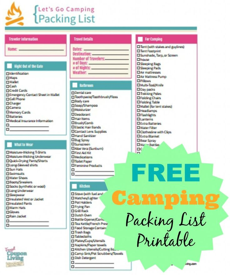 FREE Camping Printable and Packing List on Frugal Coupon Living #freebie  http://www.frugalcouponliving.com/2014/07/13/free-camping-packing-list-printable/