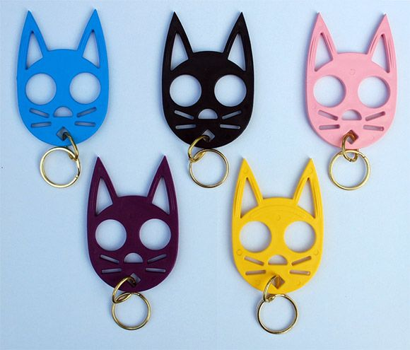 These cute cat keychains($6) are not toys, but are in fact very serious defense weapons.  They are made of an ultra-tough plastic material that is very hard to break.